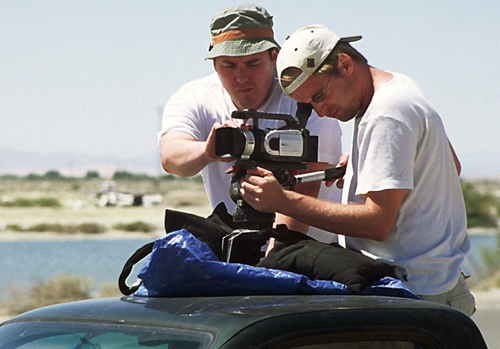 Directors Chris Metzler and Jeff Springer lineup a shot