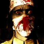 Man wearing bloody surgical mask