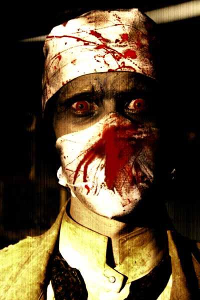 Man wearing bloody surgical mask