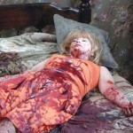 Actress Lynn Lowry covered in blood