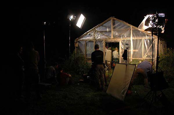 Shooting the greenhouse.