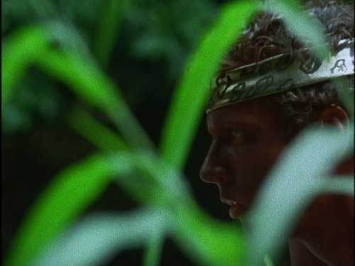 Young man wearing a headband in the jungle