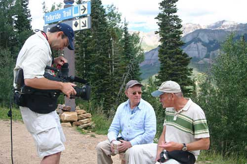 Buck Henry and George Kuchar are interviewed for a documentary
