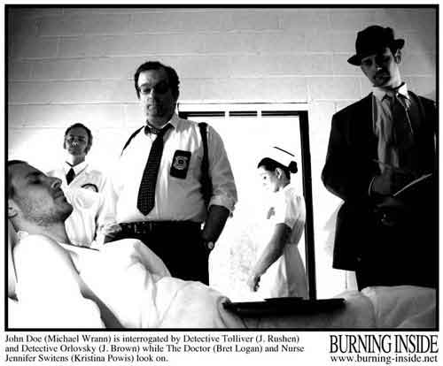 Policemen interrogate an amnesia victim