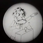 Drawing of a scientist giving a lecture