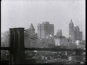 Skyline of '20s New York City including the Brooklyn Bridge