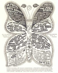 Psychedelic butterfly poster for underground film screening