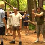 Man runs into gang in the woods.
