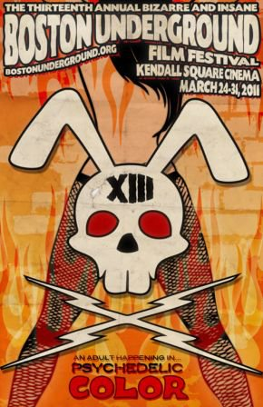 Film festival poster featuring a bunny skull and a stripper