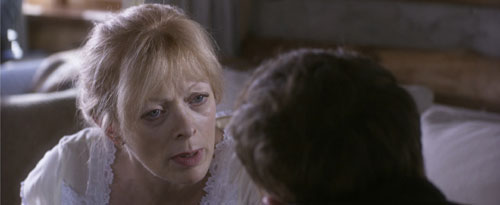 Actress Frances Fisher talking to actor Toby Hemmingway