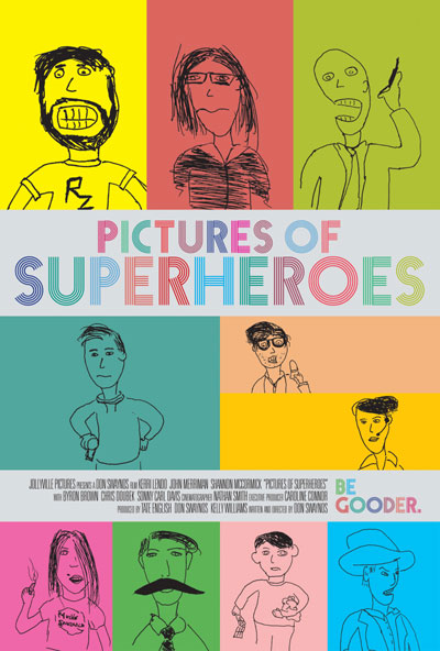Crude drawings of characters in film Pictures of Superheroes