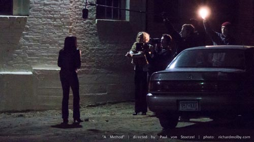Documentary film crew films a prostitute