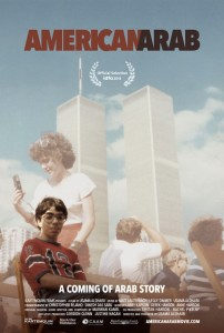 Filmmaker Usama Alshaibi sitting in front of World Trade Center
