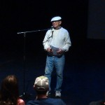 Bruce Baillie speaks to the audience at the Redcat Theater in Los Angeles