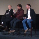 T-Bone Burnett, Joel Coen and Ethan Coen sit in directors chairs