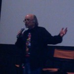 Clint Howard talks to the audience before the premiere of Sparks