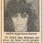 Newspaper article from the '80s featuring a photograph of Joey Ramone
