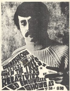 Poster promoting the screening of Guns of the Trees and Relativity