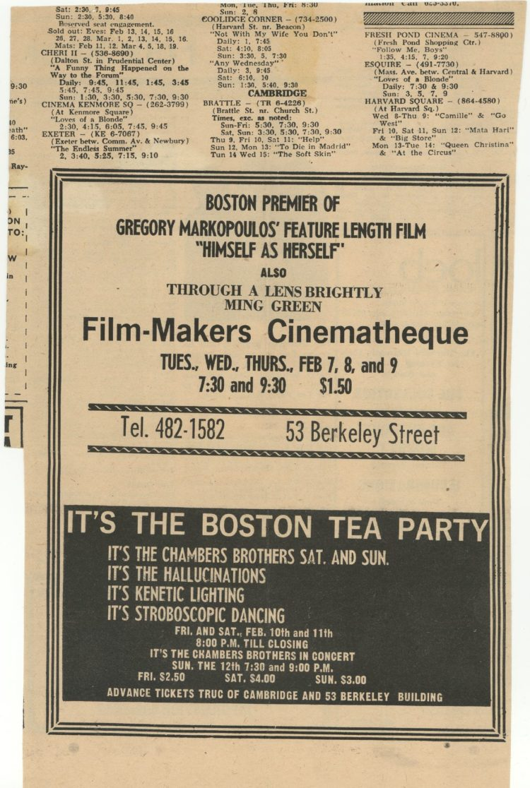 Newspaper ad promoting a screening of Gregory Markopoulos's Himself as Herself