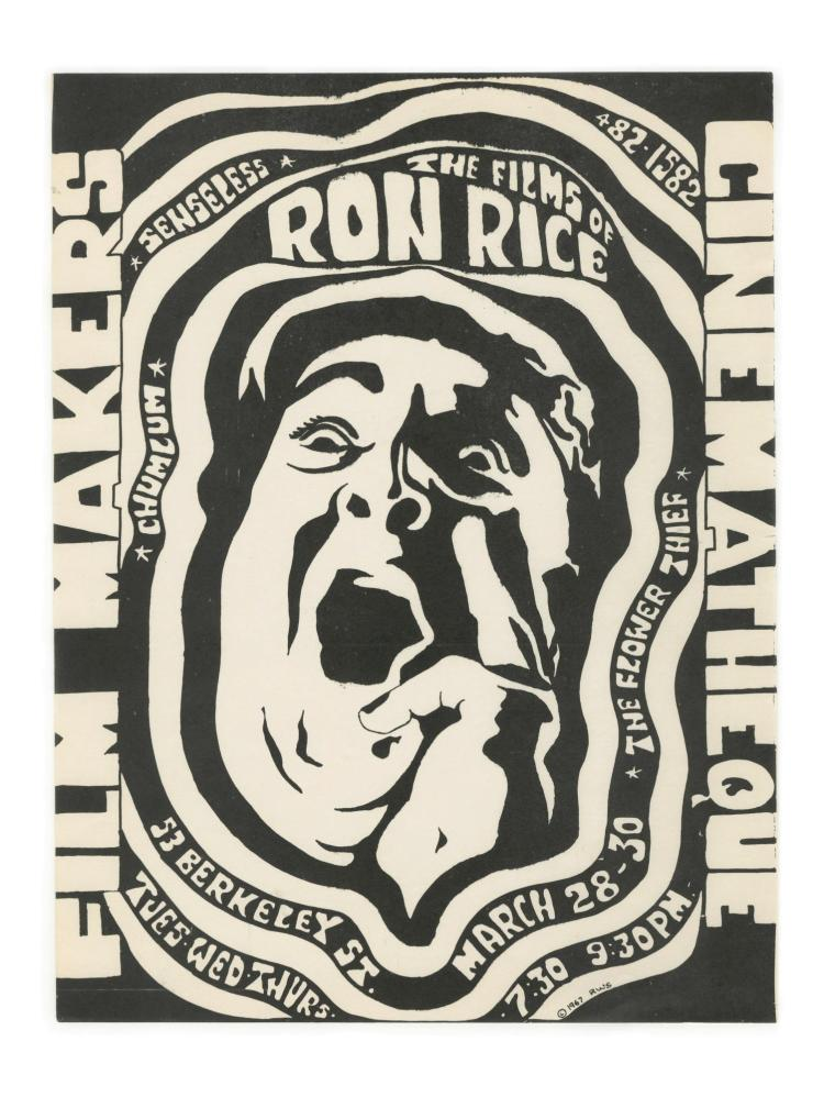 Poster promoting a screening of films of Ron Rice