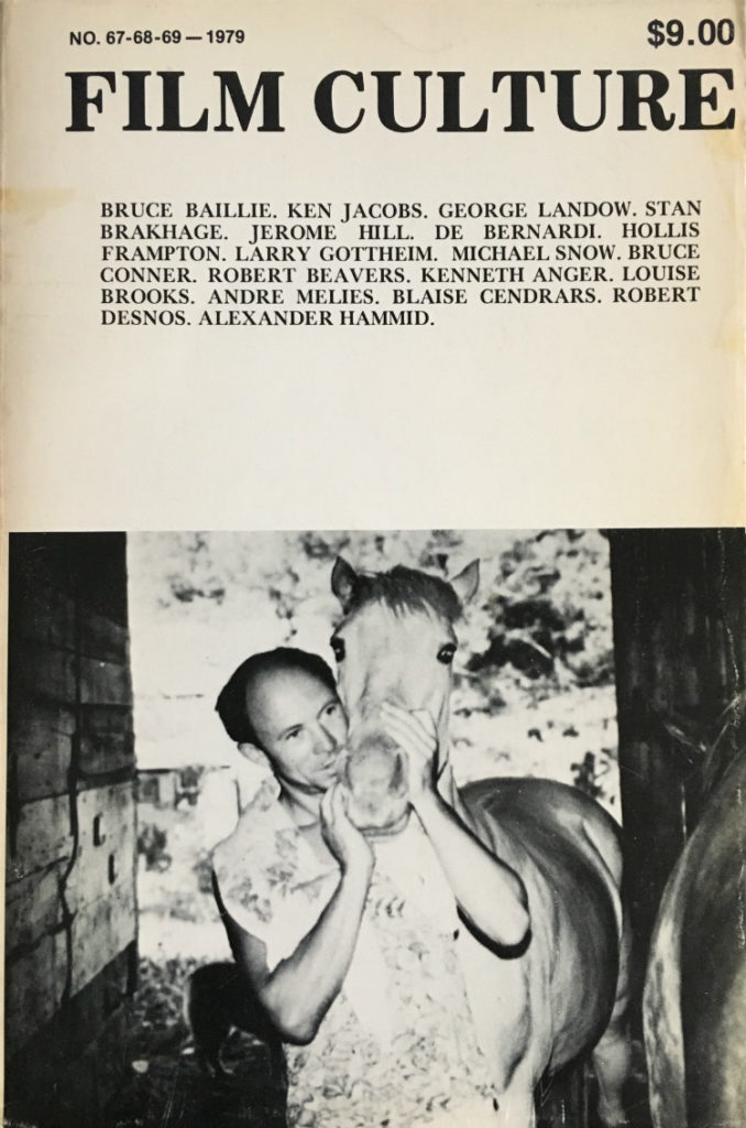 Cover to Film Culture 67-68-69 that features a photo of Bruce Baillie