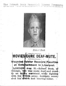 Flyer of a WWI solder accompanying an article about Robert Beck