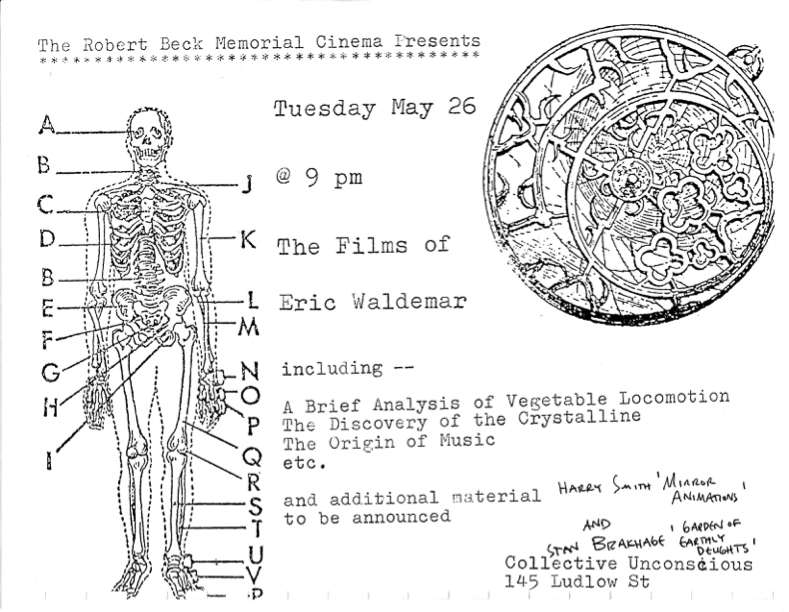Poster promoting a screening of films by Eric Waldemar