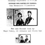Poster promoting a screening of films by Thad Povey, Al Alvarez and Steve Dye