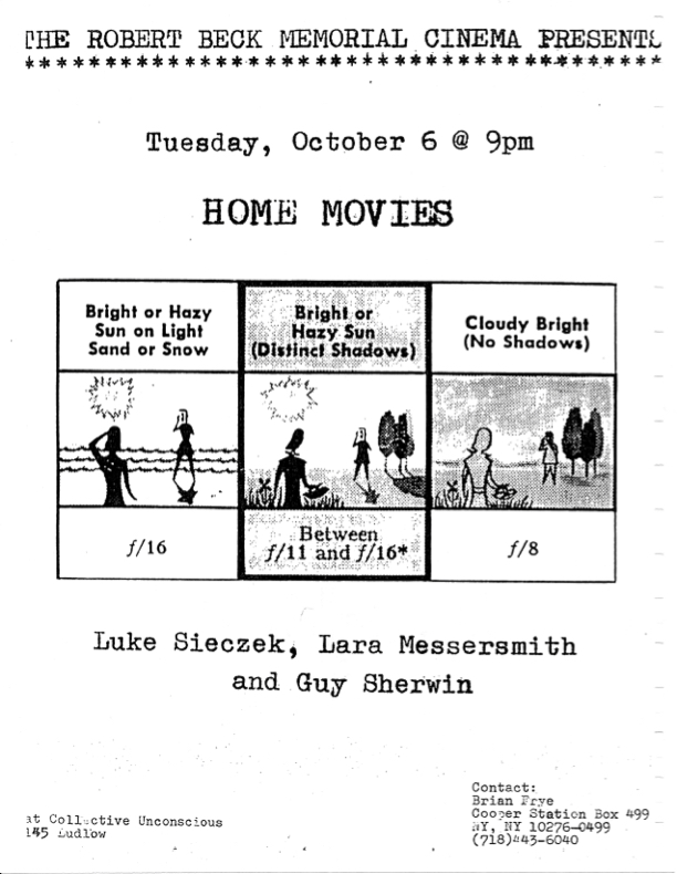 Poster promoting a screening of films by Luke Sieczek, Lara Messersmith and Guy Sherwin