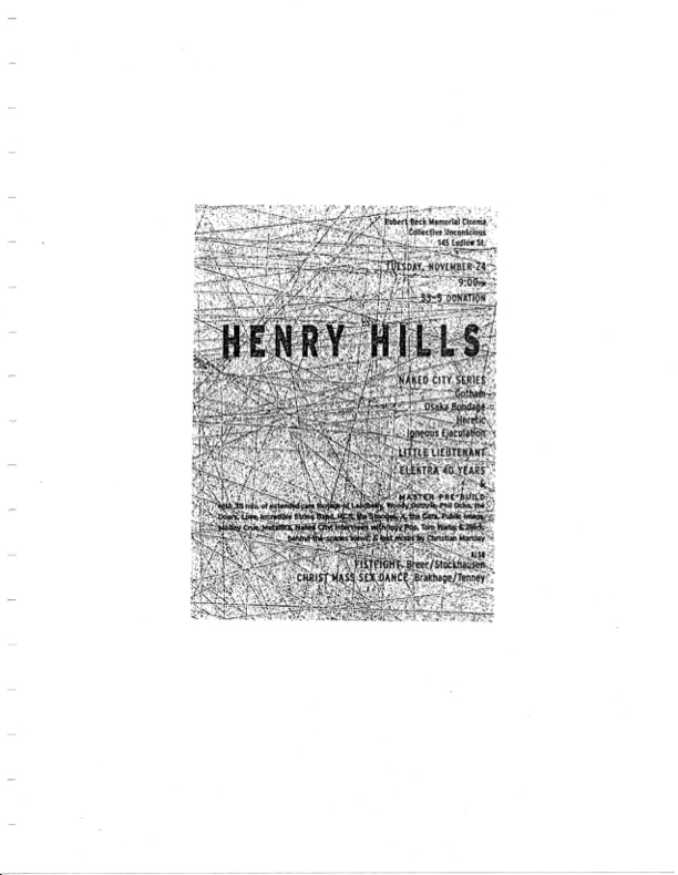 Poster promoting a screening of films by Henry Hills