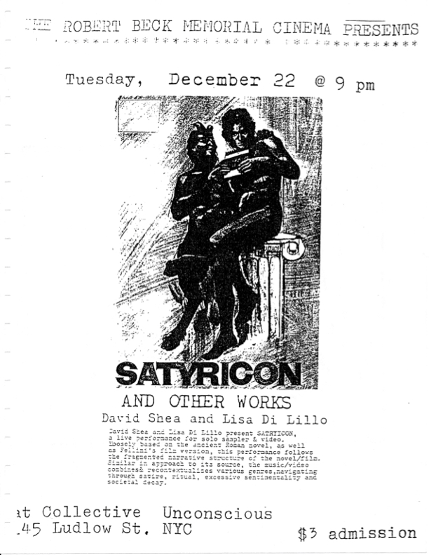 Poster promoting an expanded cinema performance by David Shea and Lisa Di Lillo