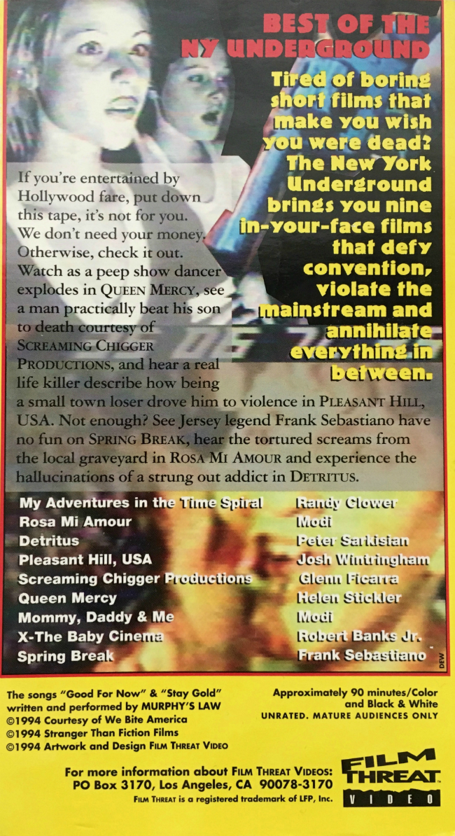 Back cover to VHS tape of Best of the New York Underground Film & Video Festival