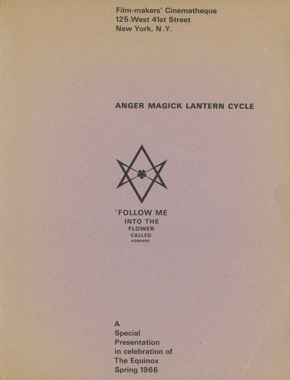 Intro page for Kenneth Anger's 1966 Magick Lantern Cycle screening