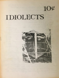 Cover to the first issue of Idiolects, published in 1976