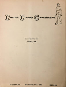 Cover to the first Canyon Cinema Cooperative Catalogue from December 1966