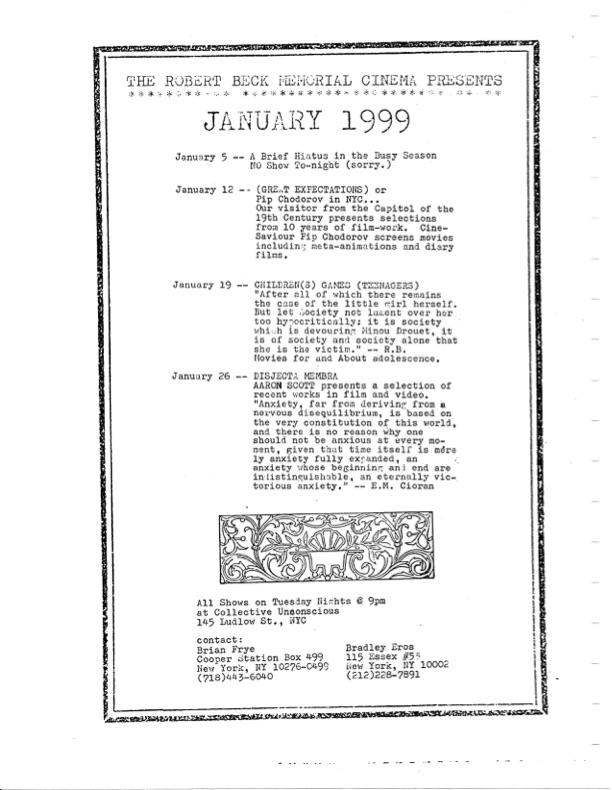 Calendar of January 1999 screenings at the Robert Beck Memorial Cinema