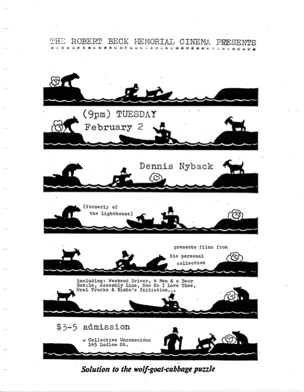 Film flyer featuring a man crossing a river with animals