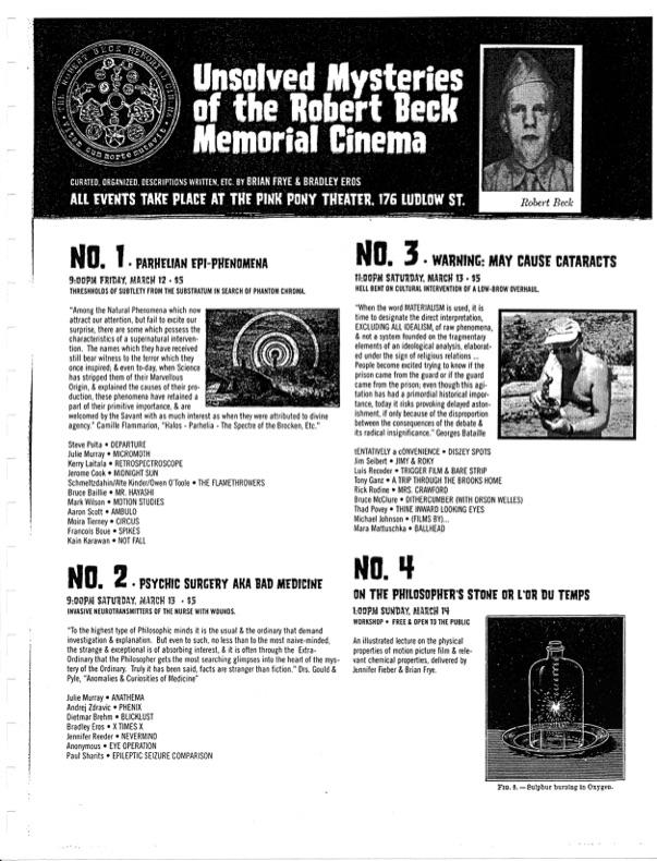Film program for the New York Underground Film Festival