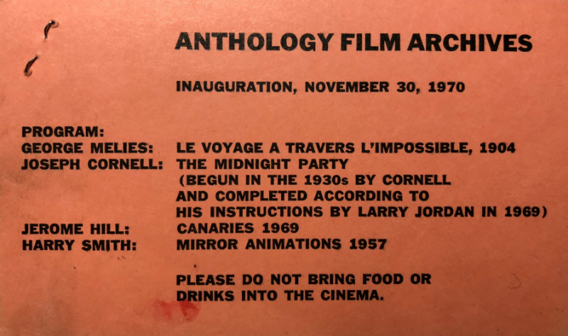 Program booklet of films that screened at the opening of the Anthology Film Archives in 1970