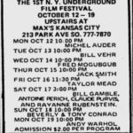 Village Voice advertisement for the New York Underground Film Festival in October 1970