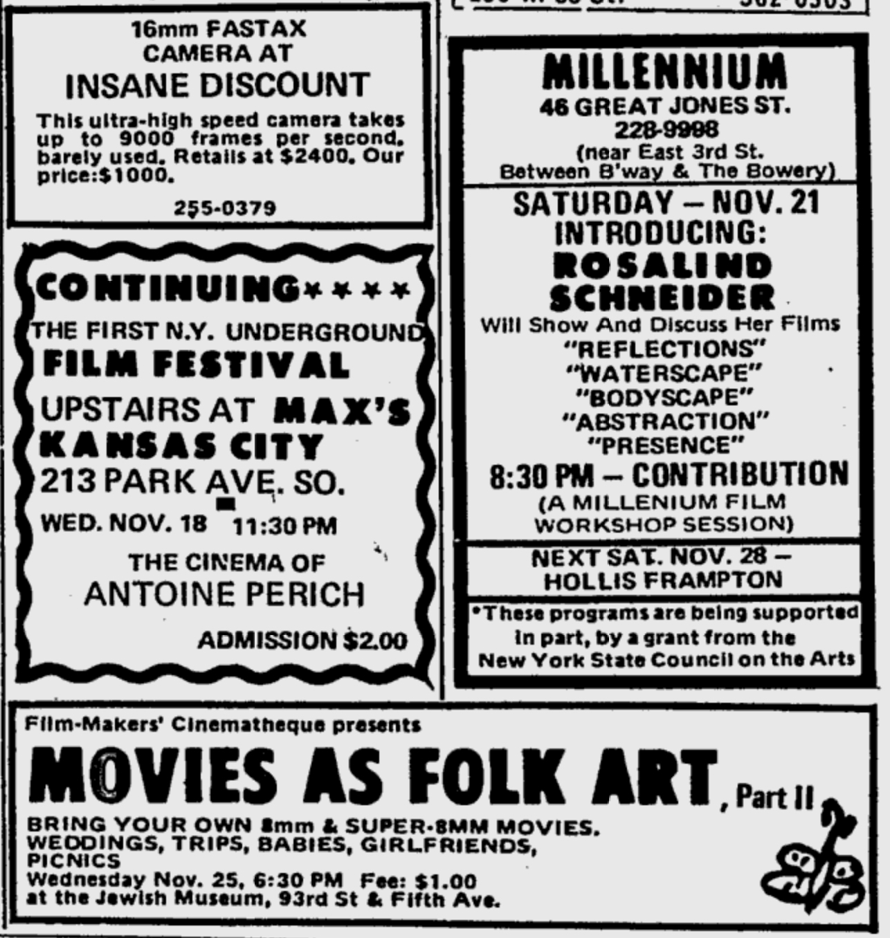 Village Voice ad for a continuation of the New York Underground Film Festival in November 1970 with films by Anton Perich