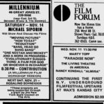 Village Voice ad for New York Underground Film Festival continuing on November 11, 1970
