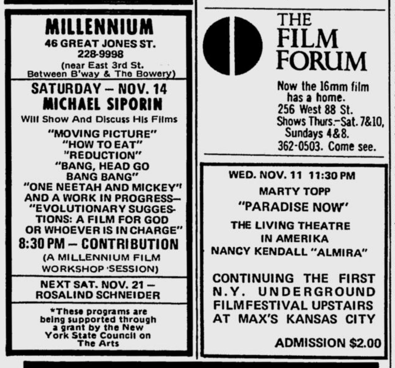 Village Voice ad for New York Underground Film Festival continuing on November 11, 1970