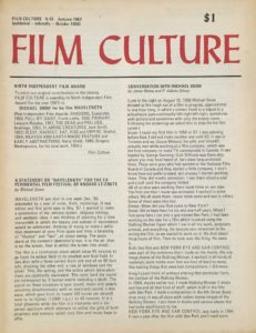 "Cover to the 46th issue of Film Culture magazine with ""the cover"" being actual articles"