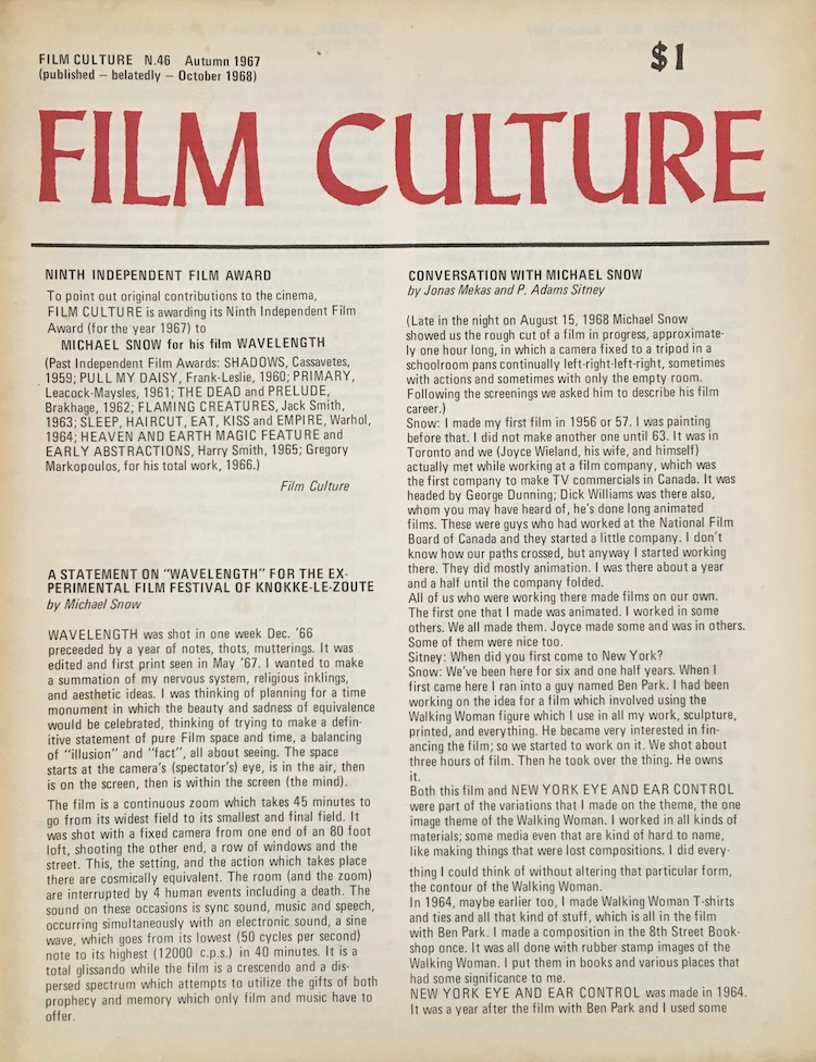 Cover to the 46th issue of Film Culture magazine with