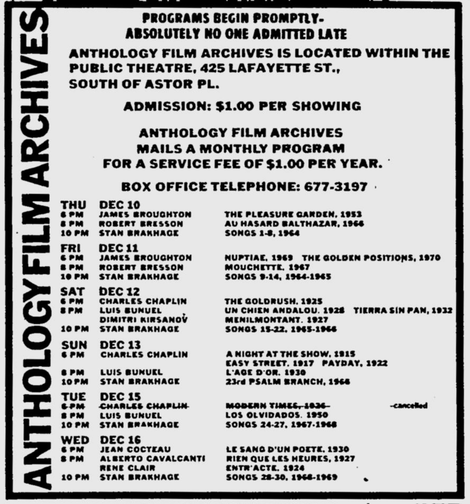 Advertisement for the Anthology Film Archives in the 12.10.70 Village Voice