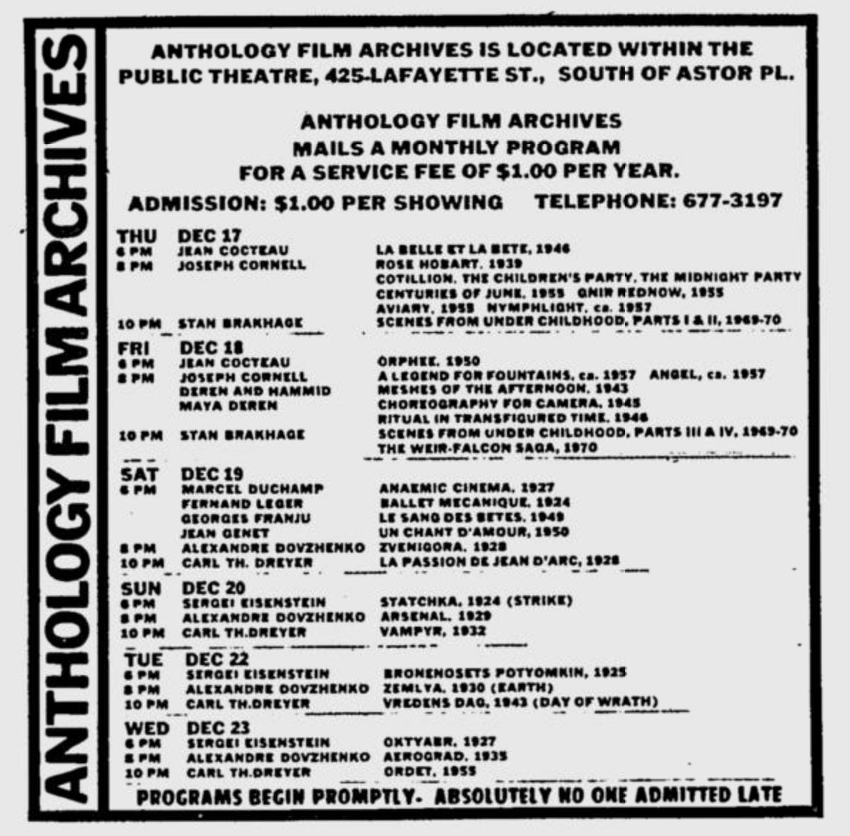 Anthology Film Archives ad in the Village Voice 12.17.70