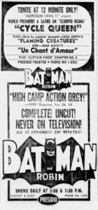 Advertisement from the Jan. 1 1966 San Francisco Examiner about underground films screening at the Presidio Theatre