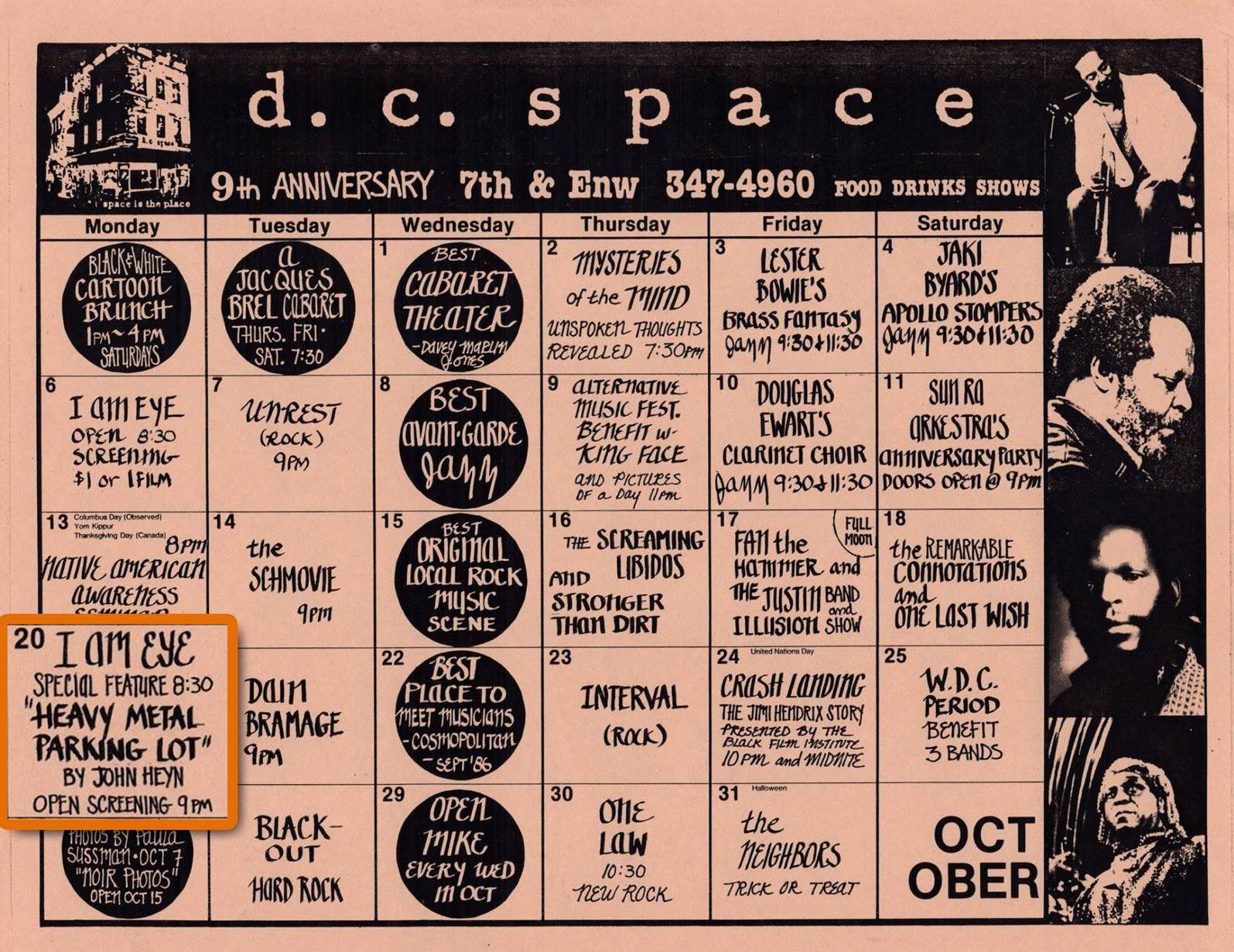 Calendar for October 1986 for d.c. space featuring the world premiere of Heavy Metal Parking Lot