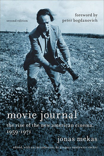 Cover to the 2nd edition of Movie Journal by Jonas Mekas featuring the author with a movie camera
